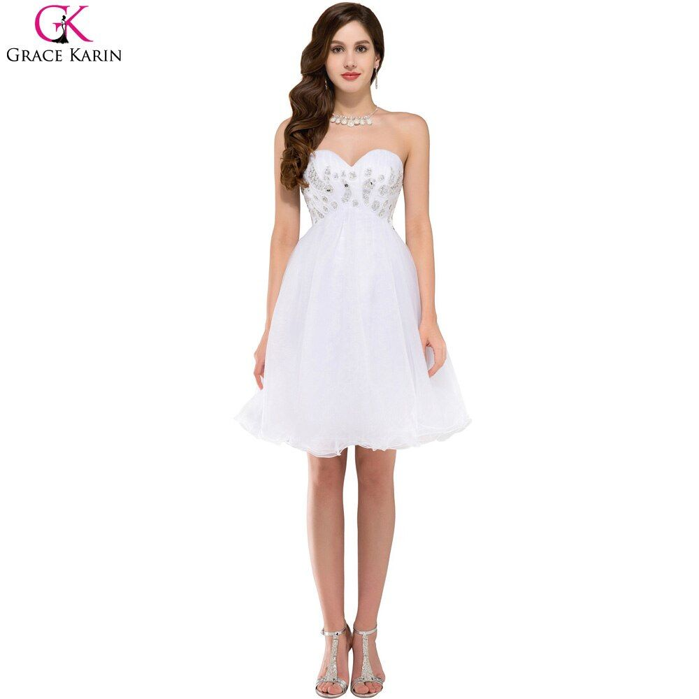 Grace Karin Sexy White Short Cocktail Dress 2017 Robe De Cocktail Dress Ball Gown Prom Dress Sweetheart Party Homecoming Dress