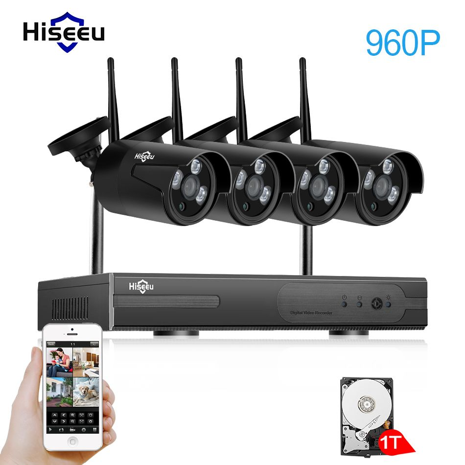 Hiseeu Wireless CCTV System <font><b>1080P</b></font> Wireless NVR 4ch 1.3MP IP Camera waterproof outdoor P2P Home Security System Surveillance Kits