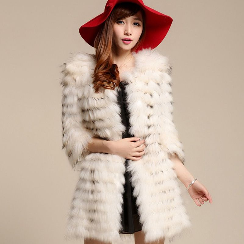 horizontal stripe design long women raccoon fur coat 100% genuine middle long real raccoon fur coat jacket winter outwear CW2519