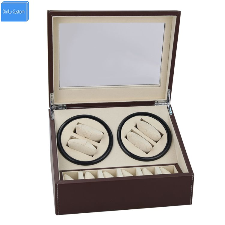 Доставка DHL коричневый Часы моталки 4 slient двигателя коробка для часов механизм случаях с ящиком для хранения дисплей часы