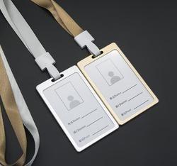 1 pc Leher Lanyard Dengan Vertikal Aluminium Alloy ID Badge Pemegang Kartu Bus Kartu Kasus Perusahaan Kantor Alat Tulis