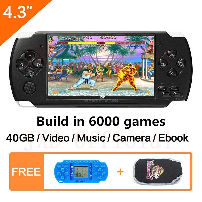 Livraison gratuite 4.3 pouces console de jeu portable 40 GB jeu vidéo portable intégré 6000 + réel reano-répéter gratuit jeux classiques MP3/4