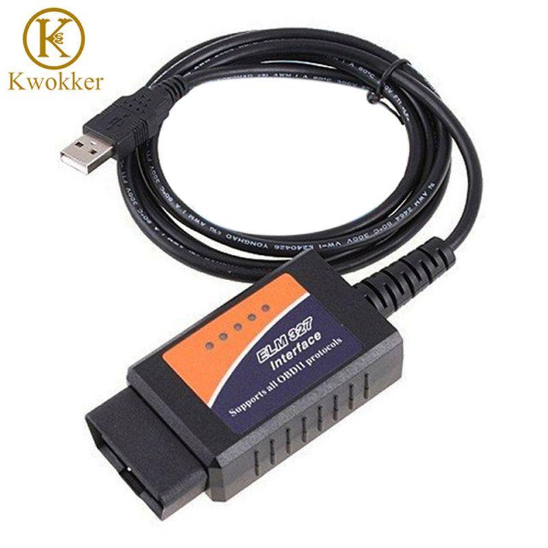 KWOKKER ELM327 USB ELM 327 V1.5 OBD 2 ELM327 USB Interface CAN-BUS Scanner Diagnostic Tool Cable Code Support OBD-II Protocols