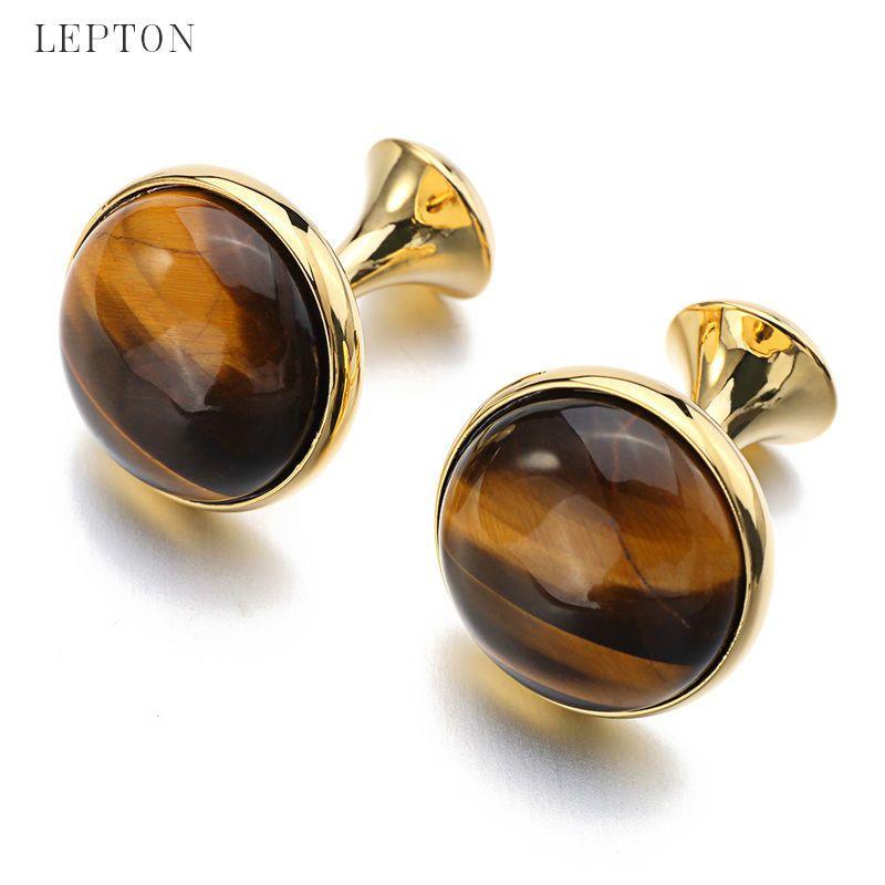 Boutons de manchette bas de gamme en pierre à œil de tigre de luxe pour hommes couleur or plaqué Lepton haute qualité marque boutons de manchette en pierre ronde meilleur cadeau