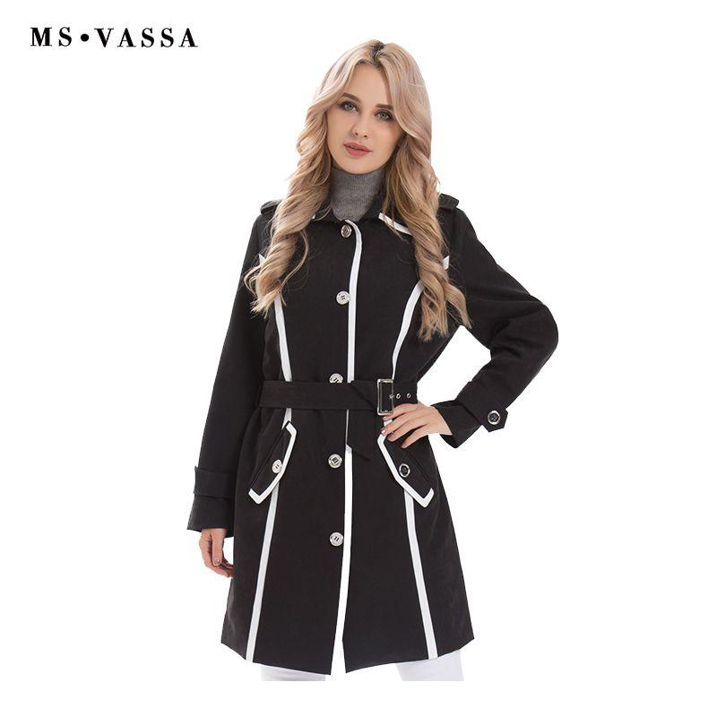 MS VASSA femmes manteau printemps long Trench coat 2019 nouvelle mode coupe-vent col rabattu taille réglable ceinture grande taille S-7XL