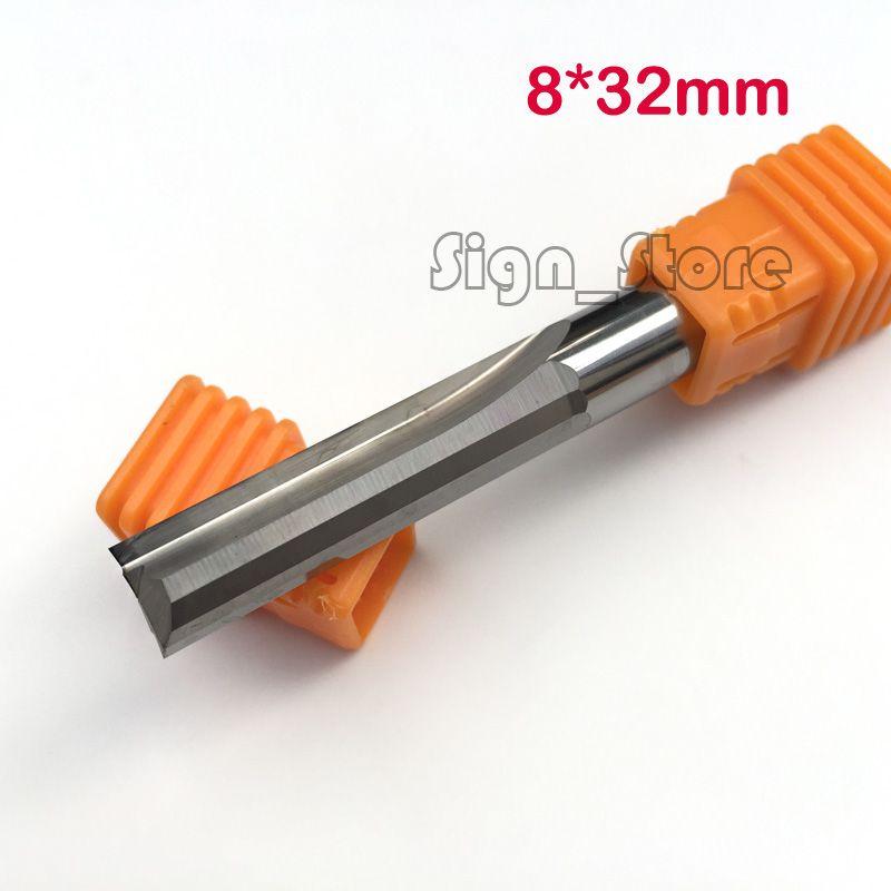 2 pièces 8*32mm Deux Flûtes Doubles Fente Droite, Coupeurs de Bois, CNC Sculpture Gravure Outils Fraise Fraise En Carbure Monobloc