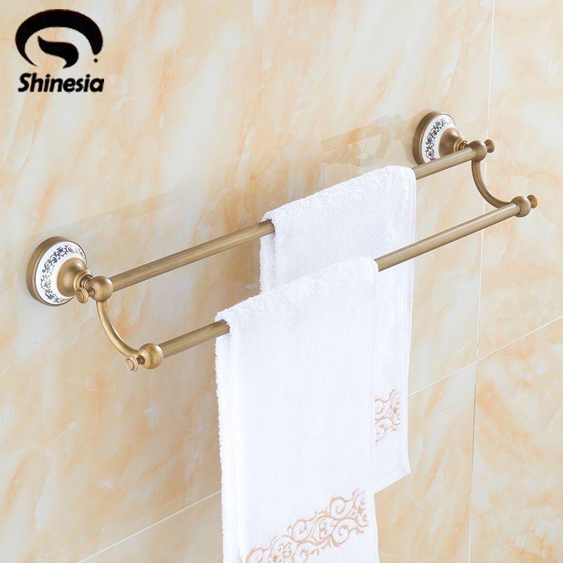 Klassische Antike Messing Aus Massivem Messing Bad Handtuchhalter Dual Bars Handtuchhalter Bad-accessoires Wand Montiert