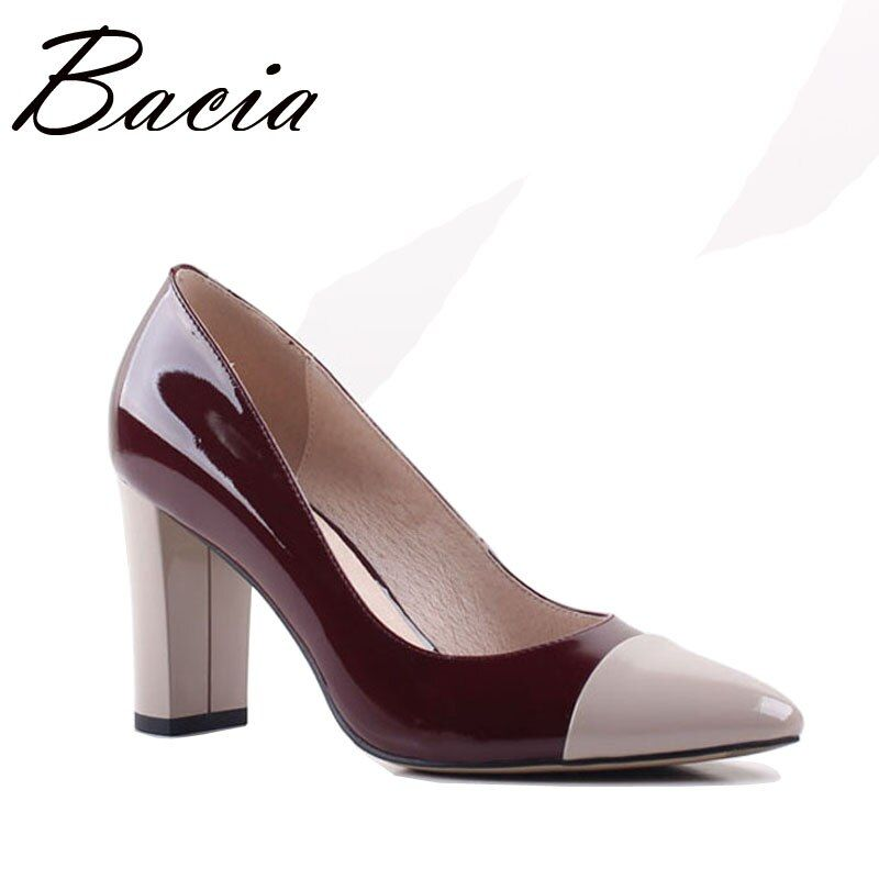 Bacia 2017 New Pointed toe 8.2cm High Heels Wine Leather Shoes Shallow Elegant Fashion Shoes Spring Summer Women Pumps SA013