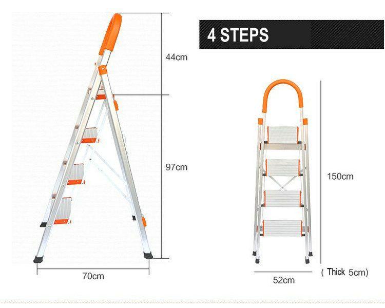 NUEVA Escalera Con Rieles Fijos, Pies de goma Y Pedales de Ancho 4 Pasos Escalera de Aluminio, Escaleras plegables Paso, Escaleras de aluminio