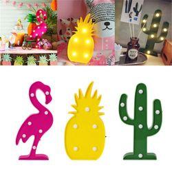 Led Flamingo noche luz letrero estrella Cactus Mesa lámparas romántica 3D pared lámpara Luna niños regalo inicio Escritorio decoración