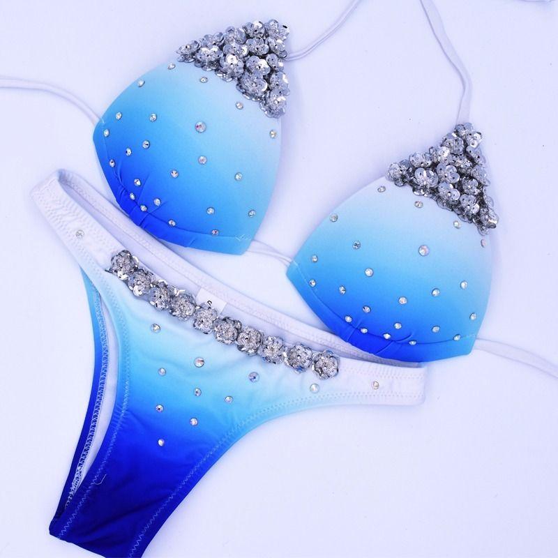 Almostlover1209 Swimwear Women Push Up Swimsuit Diamond Bikini 2018 Blue Rhinestone Swimsuit Women Bikini Set Maillot De Bain