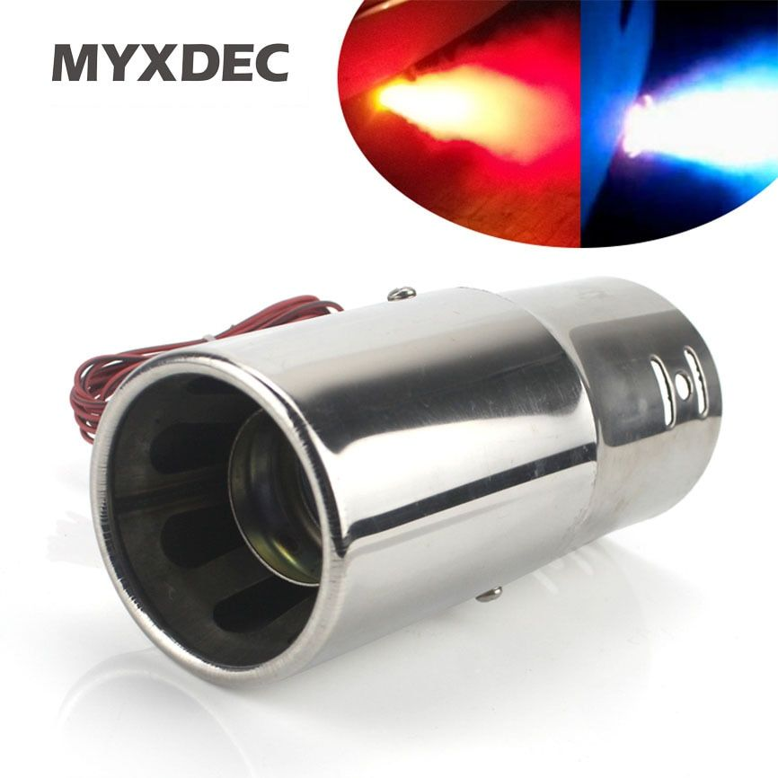 Universal Car Stainless Steel Spray Device Light Tail Throat Exhaust Red Blue Leds Modified Flame Spray Light Modulator Styling