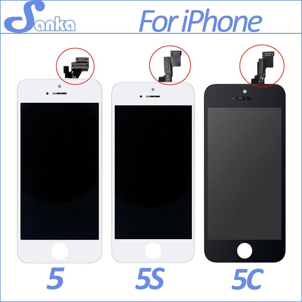 SANKA AAA Écran Pour Apple iPhone 5 5S 5C LCD Affichage tactile Assemblée D'écran Avec Digitizer Verre Pas de Dead Pixel Téléphone Pièces