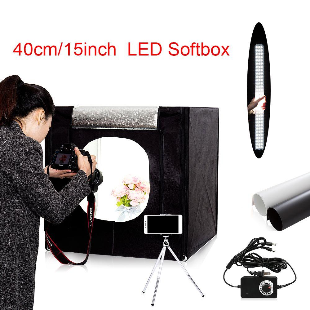 Free ship 40*40*40cm portable LED photo studio Light Tent set+2 Backdrops+dimmer switch photography tent kit mini box photo box