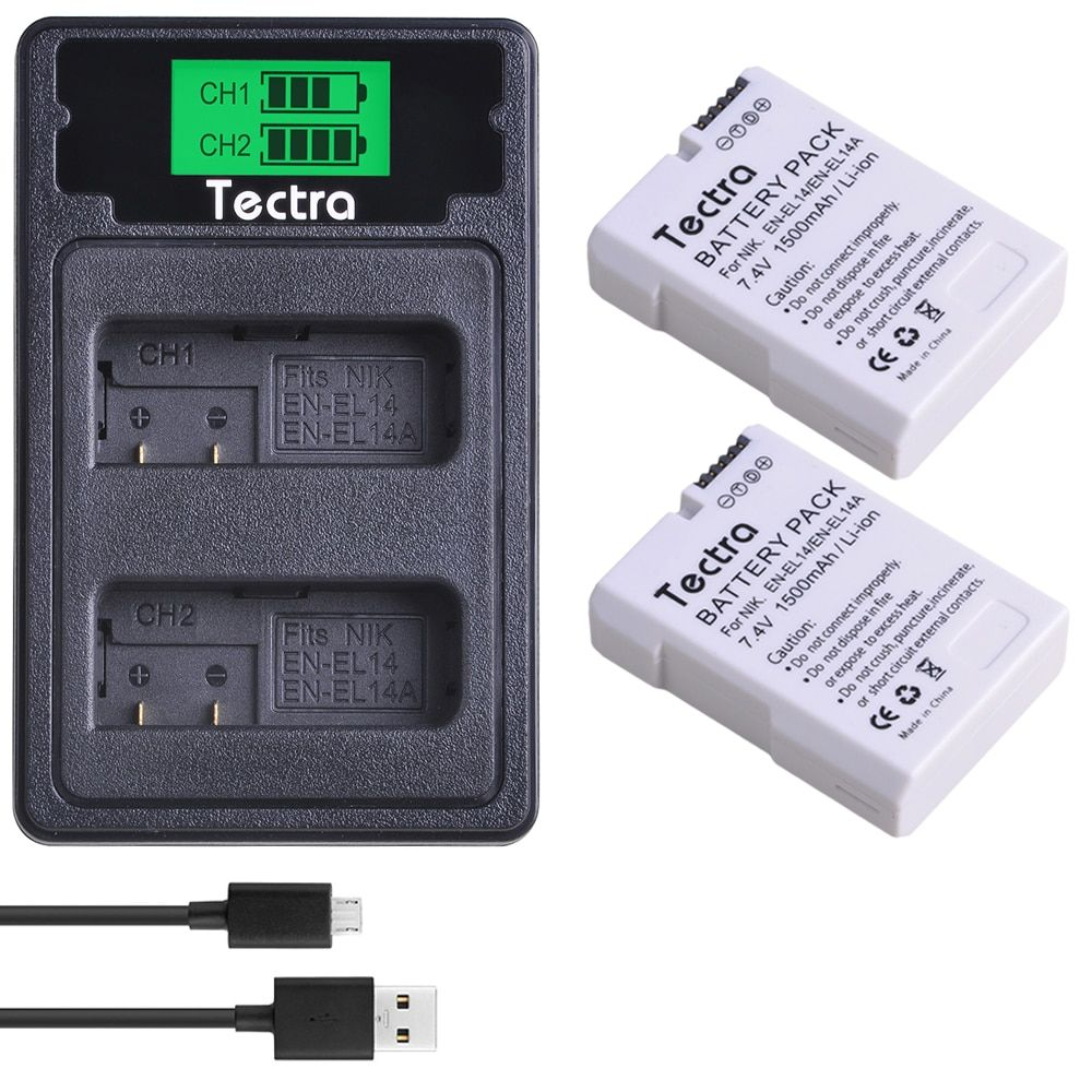 2 pièces 1500 mAh EN-EL14A EN-EL14 ENEL14 Batterie + Chargeur LCD pour Nikon D3100 D3200 D3300 D3400 D3500 D5600 D5100 D5200 P7000