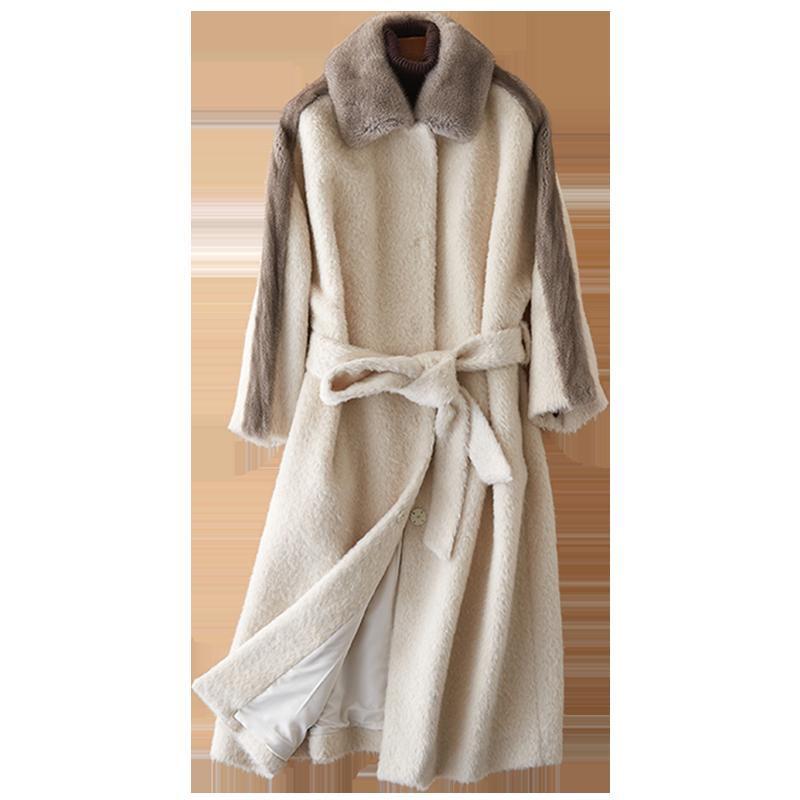 Winter Jacke Frauen Kleidung 2018 Echt Pelzmantel Wolle Jacke Nerz Pelzmantel Koreanische Elegante Slim Fit Kaschmir Langen Mantel ZT573