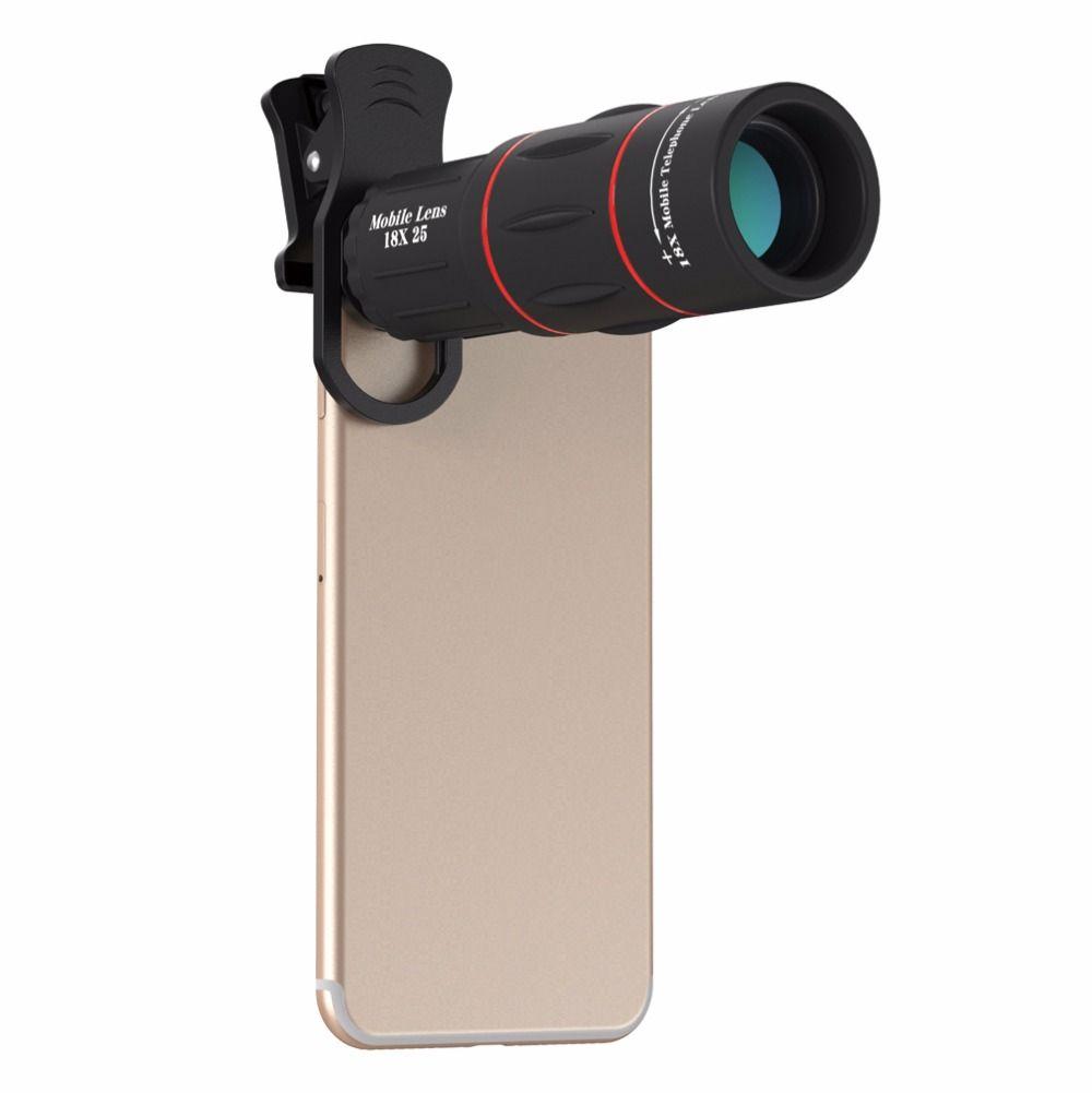RAYONS UV Universel Téléobjectif Caméra Len 18X Zoom Optique Téléphone Télescope Portable Mobile Téléphone Pour iPhone X/8/8 p Samsung Huawei cas