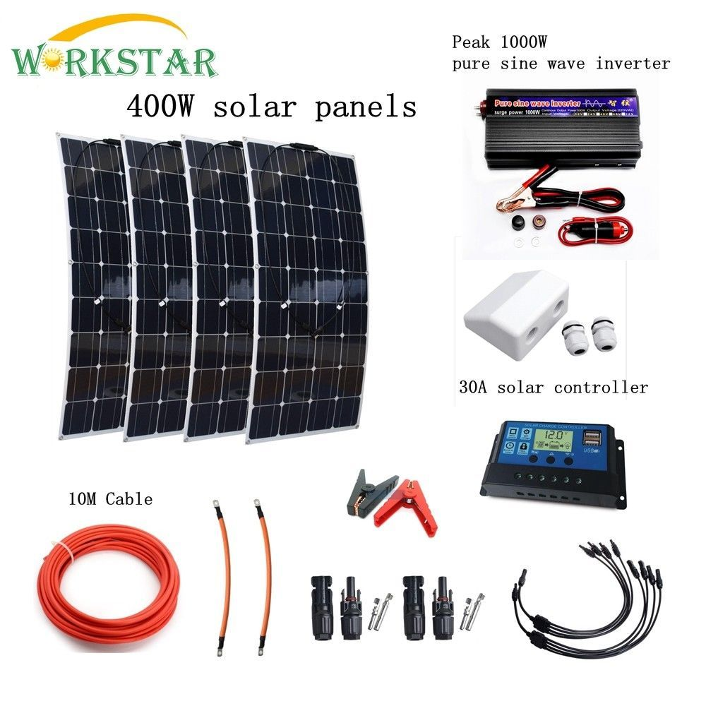 Complete 400W Solar System for Beginner 4X100W Solar Panels 1000w Inverter with Installation Accessories For Yacht RV Boat