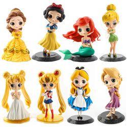 Baru Lucu Putri Rapunzel Alice Fashion Dolls Mermaid Salju Putih Model Mainan Dekorasi Kue Hadiah untuk Anak Perempuan
