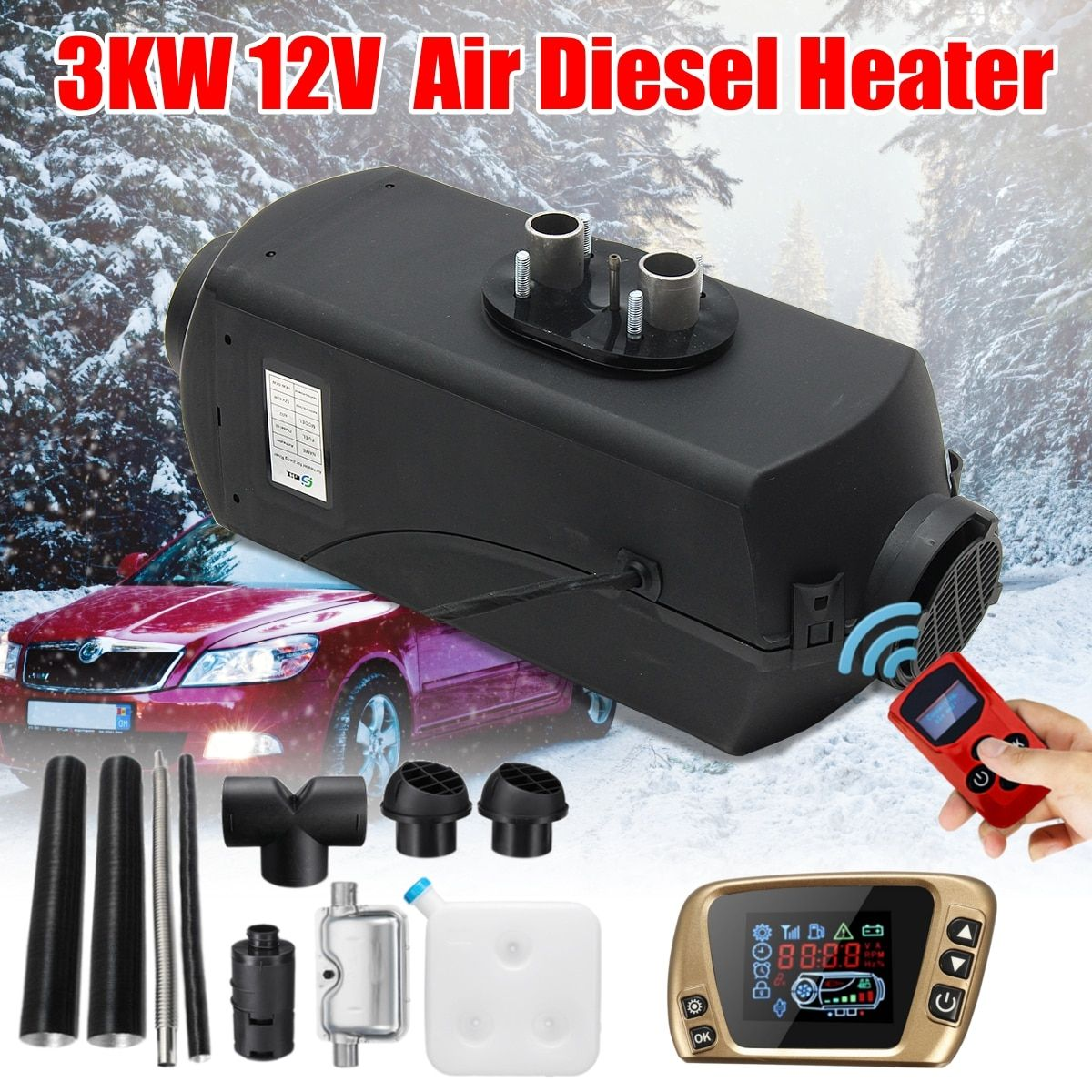 12V 3KW Diesels Air Parking Heater Air Heating 3000W LCD Switch For Boats Bus Car Trailer Heater +Silencer +Remote control