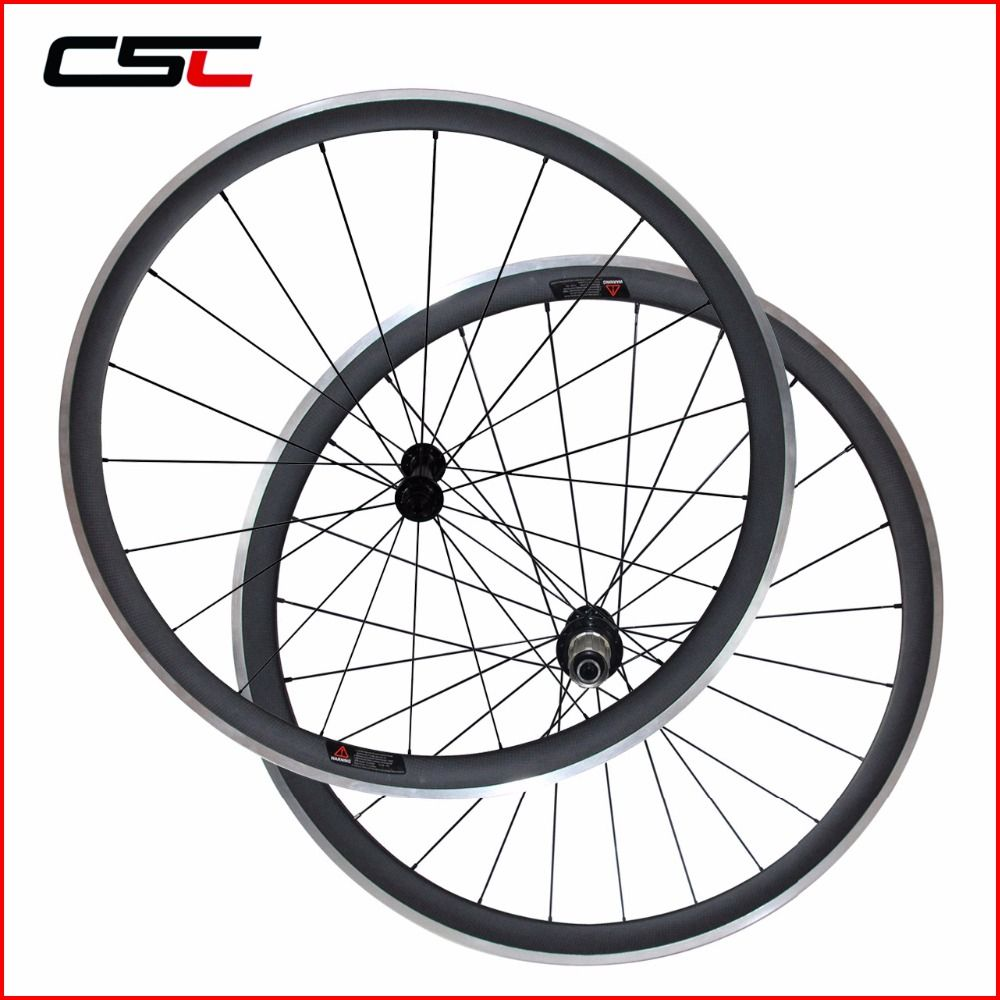 Carbon Wheelset Alloy brake Surface Clincher With Powerway R13 Hub CN Aero 424 Spoke