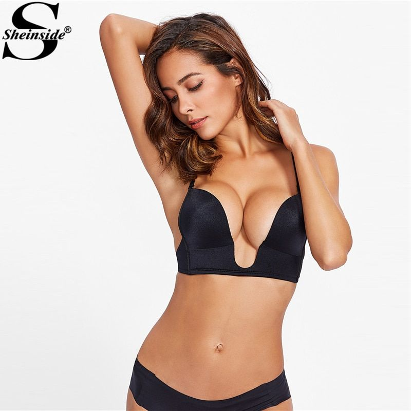 Sheinside 2018 Sexy Adjustable Straps U Plunge Bralette Bustier Cami Top Women Plain Bras Lingerie Tanks
