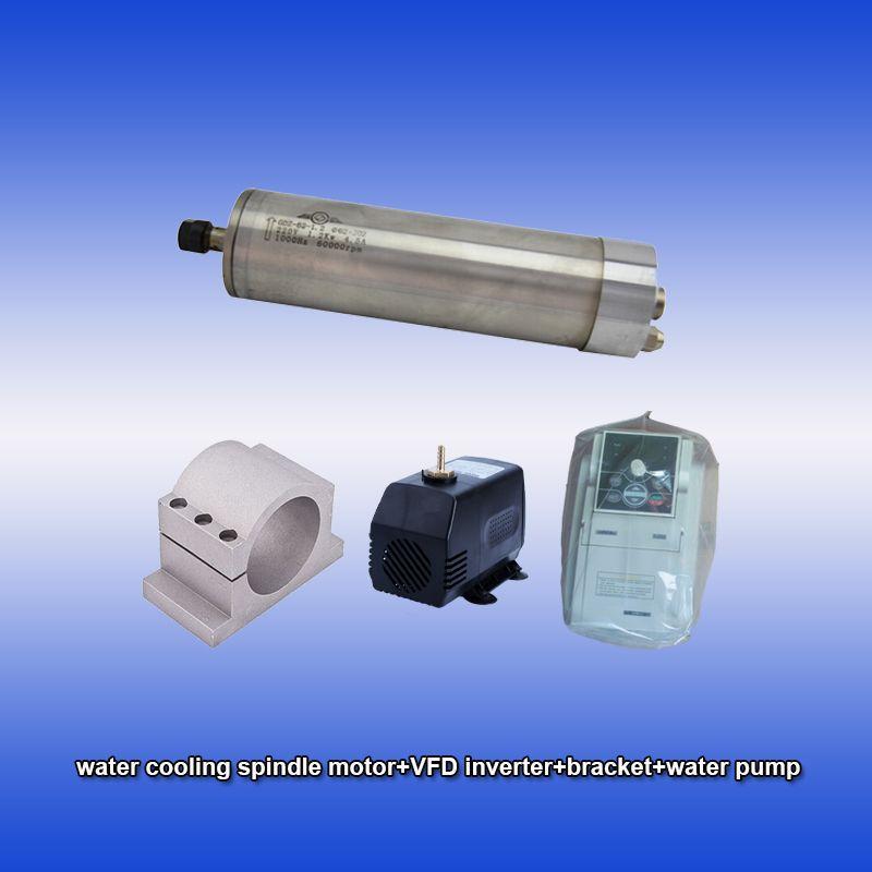 60000 rpm 1.2kw 1.5hp ER11 wasser kühlung spindel motor & SUNFAR 1.5KW 1 phase 220 v inverter & halterung & pumpe CNC kits