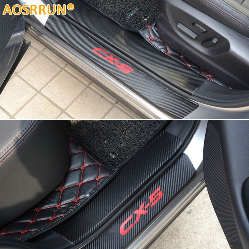 AOSRRUN PU leather Carbon fiber Car-styling Door Sill Scuff Plate For mazda CX-5 CX5 2014 2015 Car Accessories
