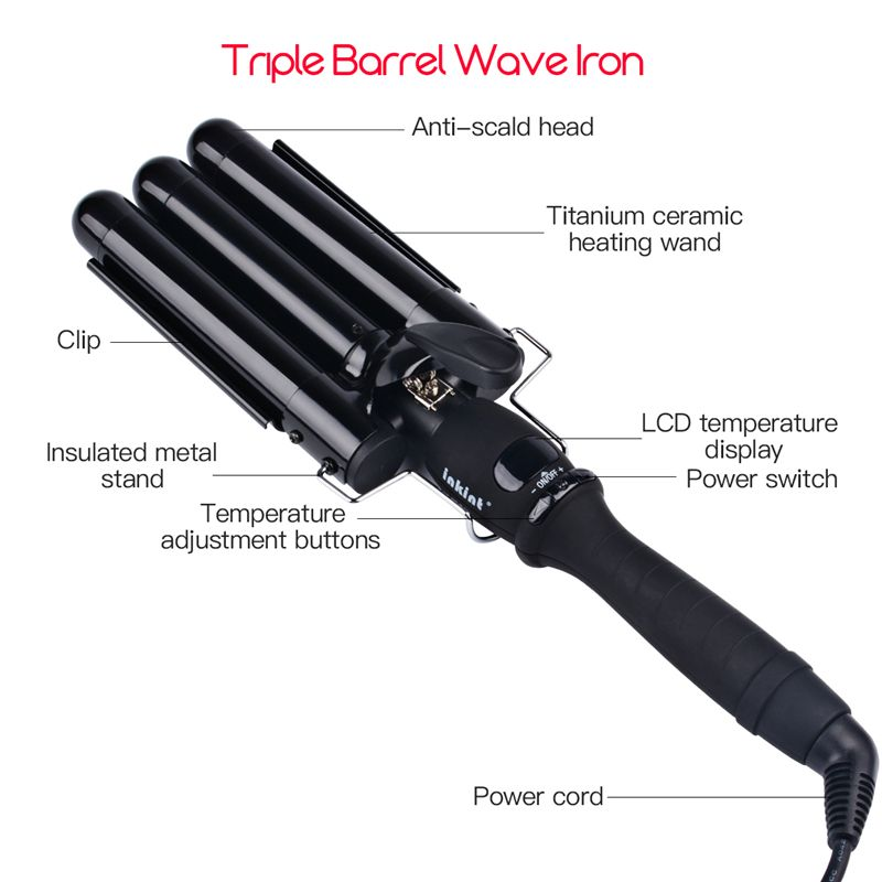 CkeyiN 19-25MM Curlers Three Pipe Joint Ceramic Triple Barrels Curling Iron LCD Electric Hair Curly Big Hair Wave Waver Styling