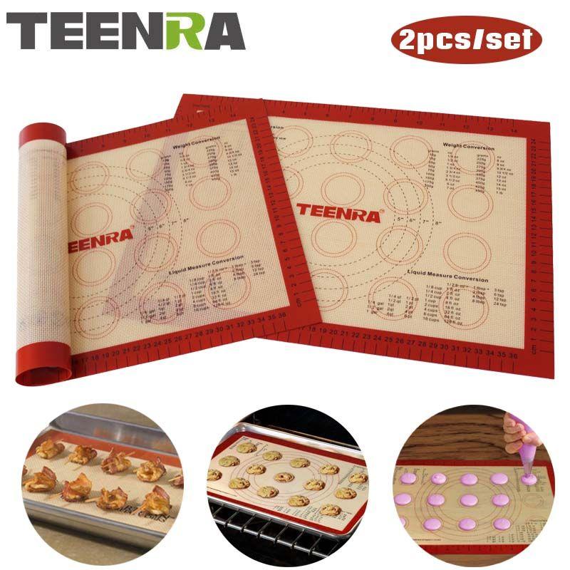 TEENRA 2Pcs/set Non-stick Macaron Baking Mat Silicone Mats Baking Liner Heat-resistant Baking Sheet Set Pastry Tools