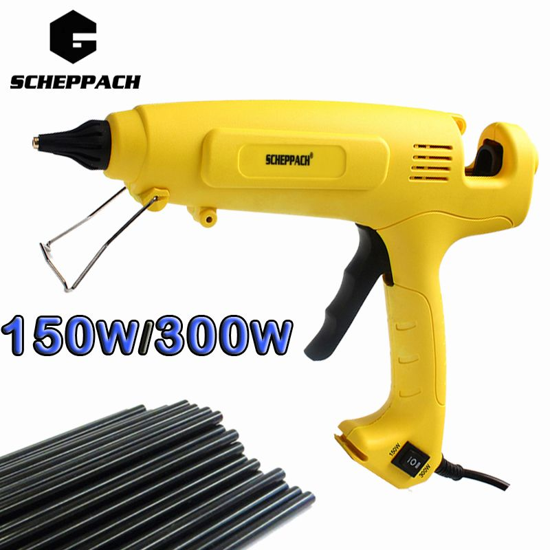 Scheppach 150W/300W Hot Melt Glue Gun EU Plug Adjustable Professional Copper Nozzle Heater Heating Wax 11mm Glue stick