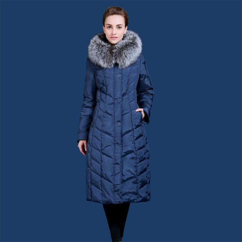 Russian and European Winter women down jacket Lengthen the thickening at minus 40 degrees warm Silver Fox fur collar 48-58 Q702