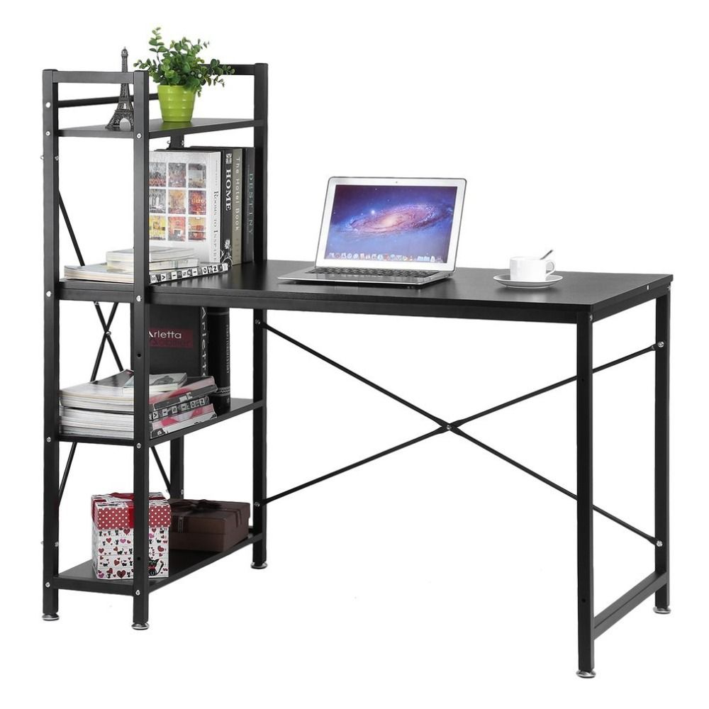 Wooden Writing Desk Computer Work Table Iron Shelving Rack Desk Bookcase Conjoined Combination Home Office Workstation