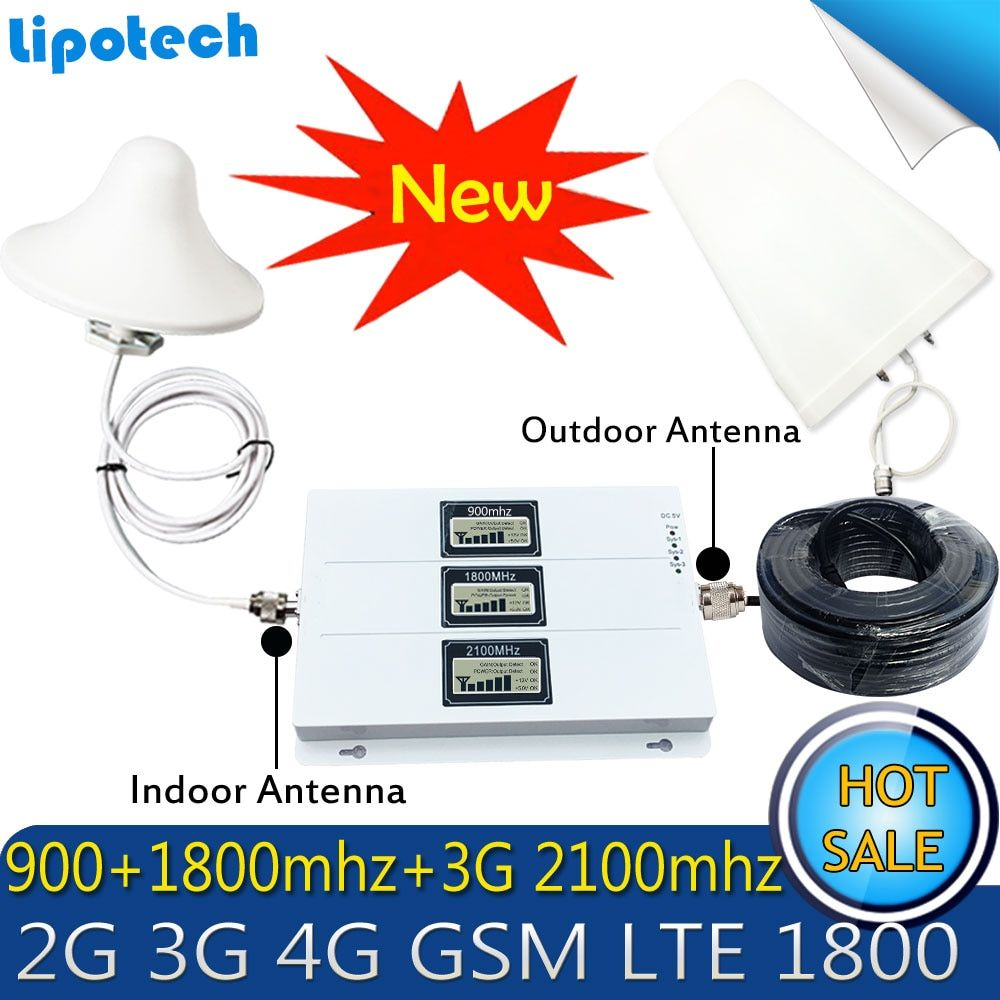 Lintratek GSM 900 WCDMA 2100 Tri-band Booster 2G 3G 4G LTE 1800 65dB Handy Signal 4G Antenne Zellulären GSM Repeater