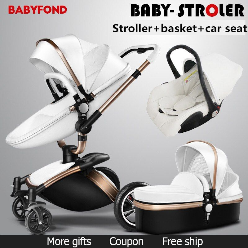 Brand baby strollers 3 in 1 high quality leather PU baby carriage Eco-friend strong light baby car