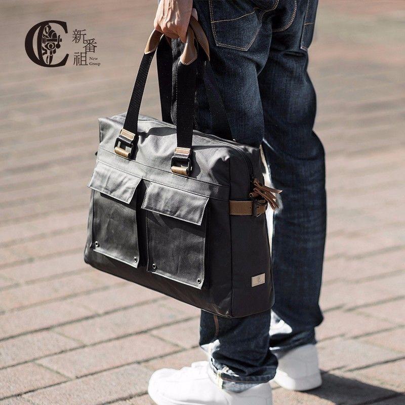 D-park Men Bags Hand Shoulder Bag 13 14 inch Large Capacity Travel Bag Crazy Horse Leather Messenger Bag Casual Classical Design