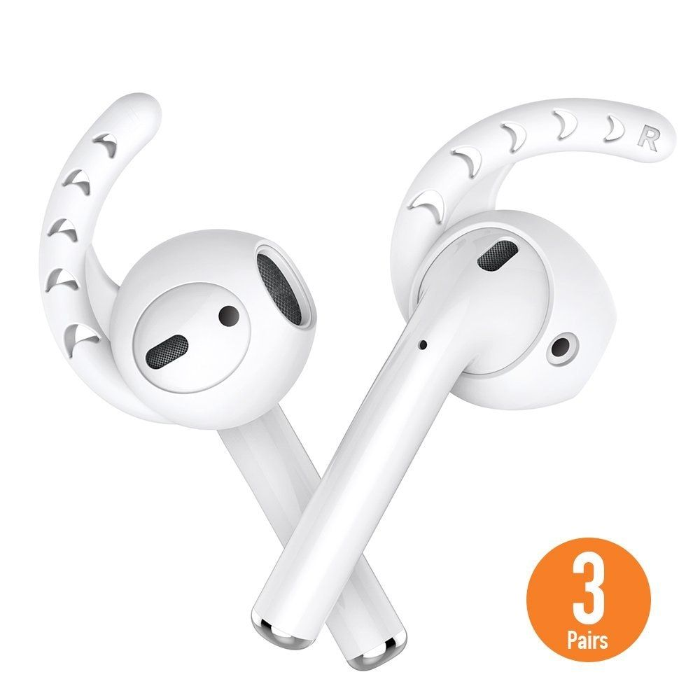 Duszake Replacement Soft Silicone Antislip Ear Cover Hook Earbuds Tips Earphone Silicone Case for AirPods Apple EarPods 3 Pairs