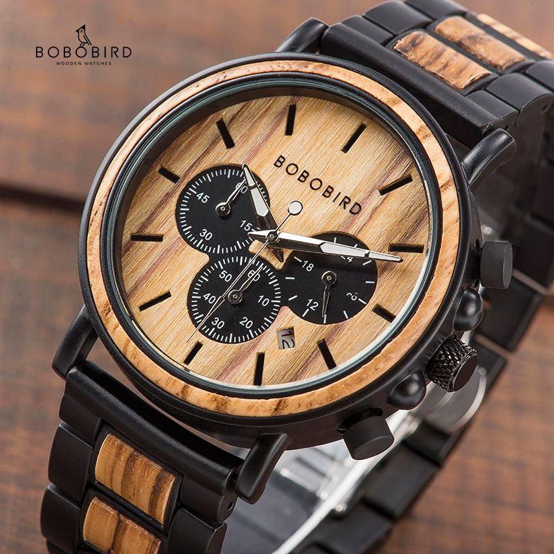 BOBO BIRD P09 montres en bois et en acier inoxydable montres homme chronographe montre-bracelet mains lumineuses livraison directe