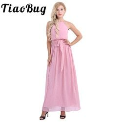TiaoBug Women Ladies Sleeveless Halter Chiffon Bridesmaid Dresses Full Length Prom Gown Pleated A-Line Long Wedding Party Dress