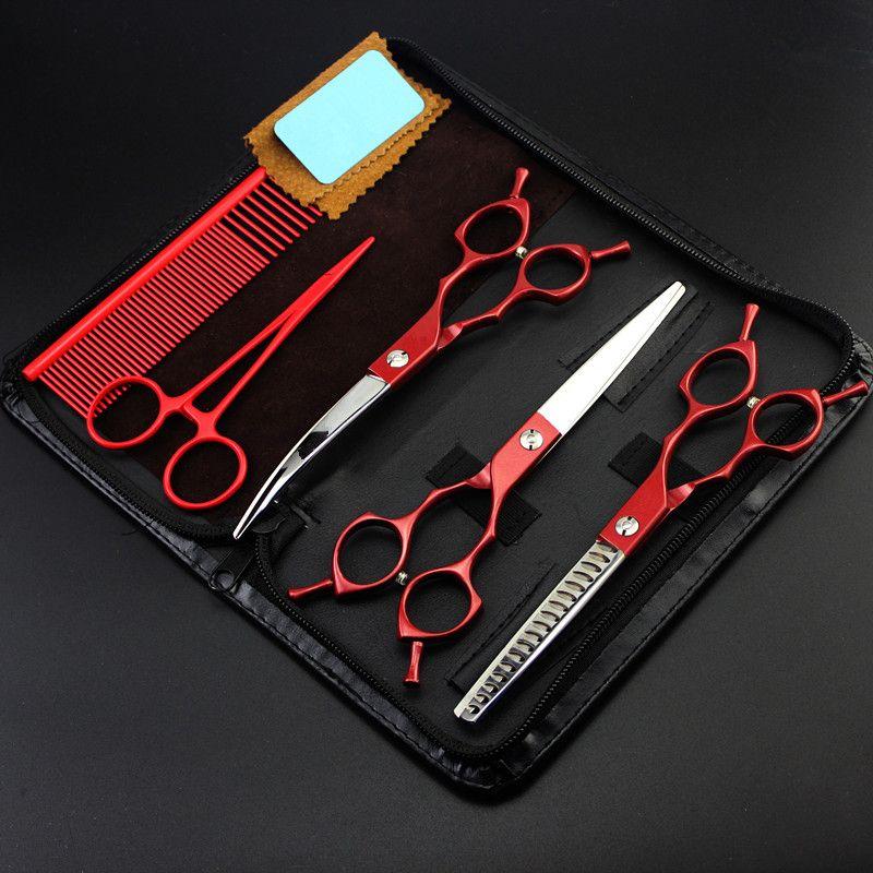 5 kit Professionelle Japan 440c 6,5 zoll rot salon schere pet schneiden friseur ausdünnung schere friseurscheren