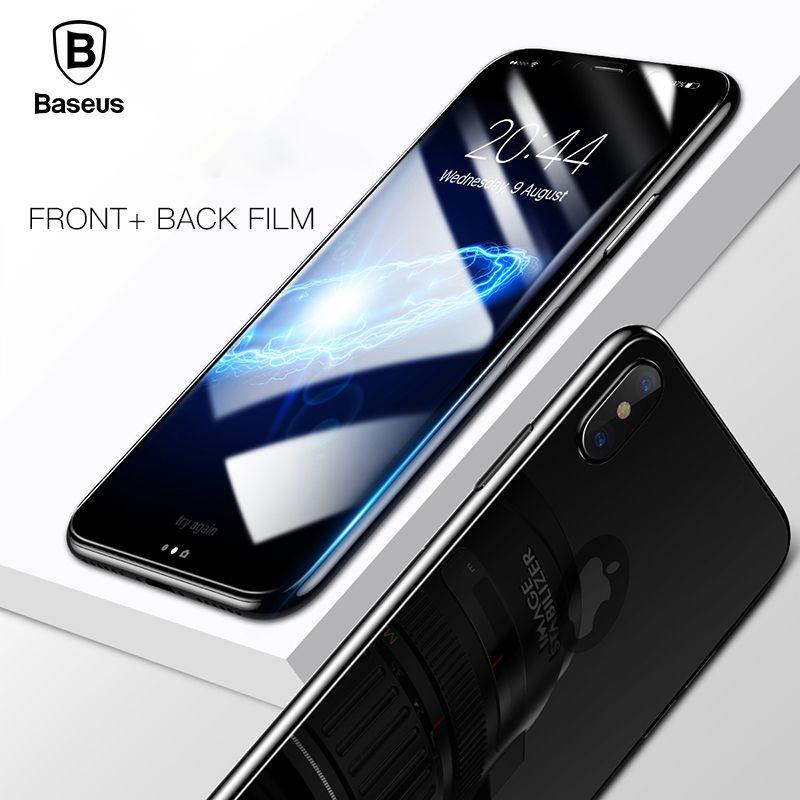Baseus 3D Plein Écran Protecteur Pour iPhone X En Verre Trempé Avant Film + Couverture Arrière De Protection En Verre Pour iPhone X Retour Protecteur