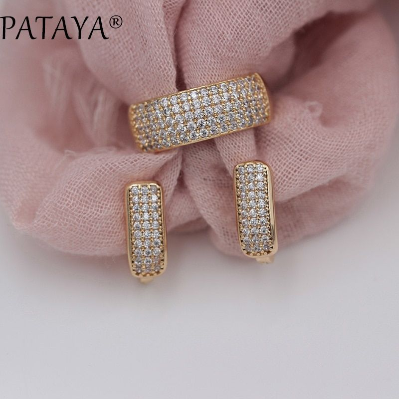 PATAYA New Arrivals Fashion Luxury Jewelry Set 585 Rose Gold Earrings Rings Sets Round White Natural Zirconia Jewelry For Women
