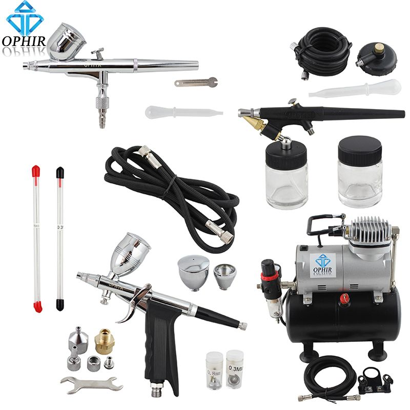 OPHIR Dual Action&Single Action Airbrush Kit with Tank Air Compressor Air Brush Gun for Model Hobby Nail Art_AC090+004A+071+069