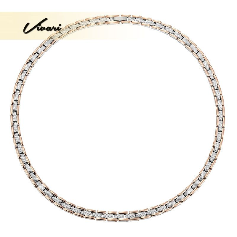 Vivari Health Magnetic Long Necklace for Women Display 58pcs Magnets 2-Tone Rose Gold Stainless Steel Jewelry Neckwear Charm