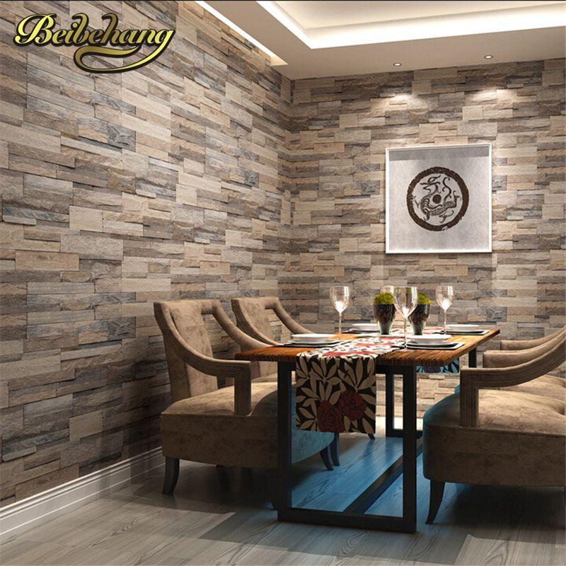 Beibehang 3D tapete holz ziegel muster wandverkleidung pvc stein design tapeten vintage stil papel de parede für hauptdekorum