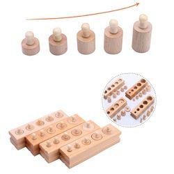 Kayu Montessori Mainan untuk Anak Awal Pendidikan Montessori Math Mainan Knobbed Silinder Bahan Montessori UA2764H