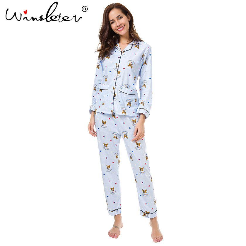 Новый 2017 Пижамы для девочек Для женщин милые корги печати Французский бульдог Комплект из 2 предметов с длинным рукавом хлопка с эластичной ...