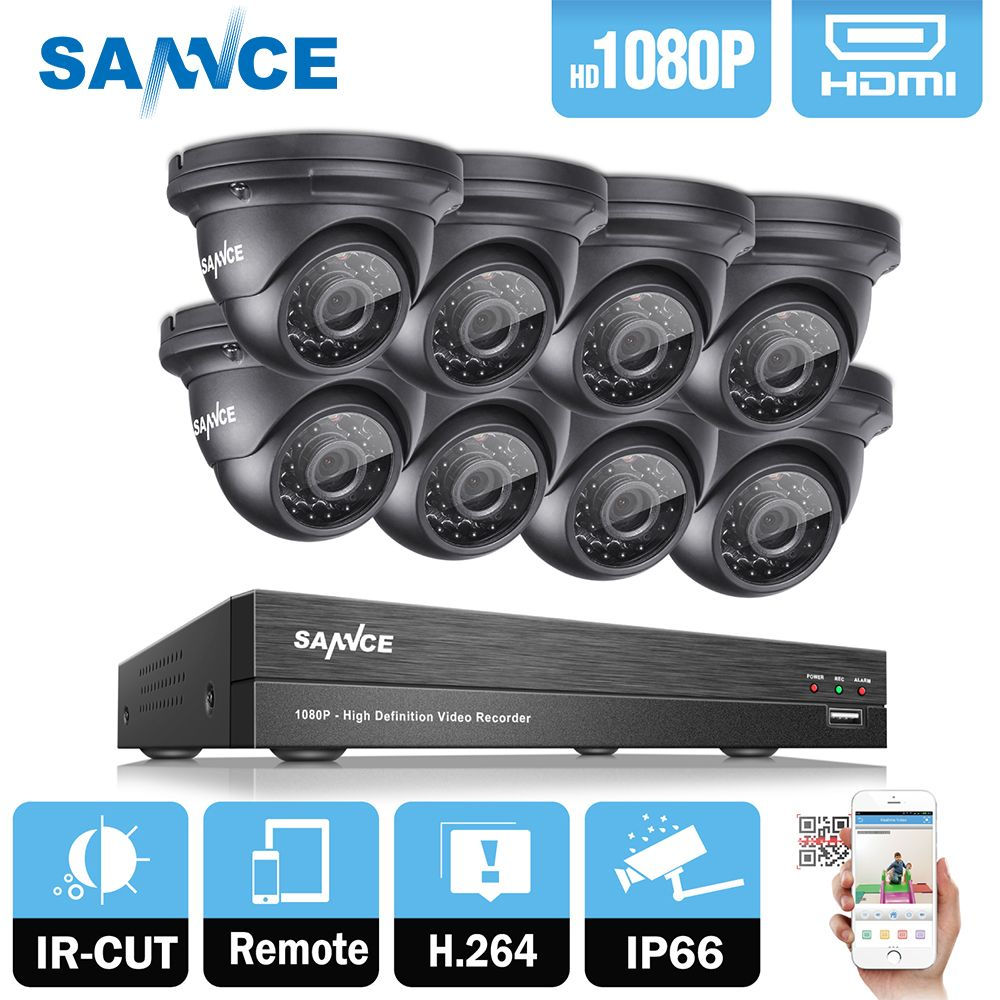 SANNCE 8CH 1080P 2MP CCTV DVR Recorder 4PCS 1080P HD 1920*1080 In/Outdoor Security Dome Camera System & 1TB HDD Onvif