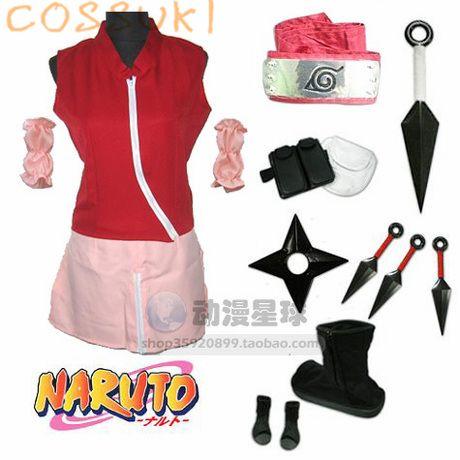 Free Shipping! Newest! Stock! Naruto Haruno Sakura Cosplay Costume Suits ,Perfect Custom For you!