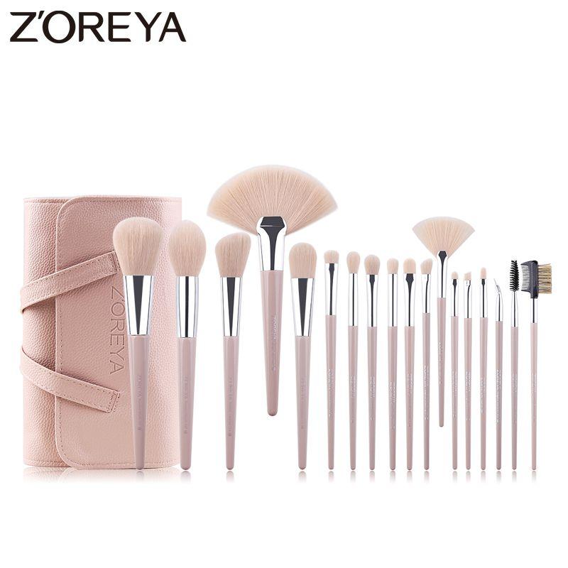 ZOREYA Marke 18 stücke Make-Up Pinsel Set Rosa Synthetische Haar Make Up Pinsel Powder Foundation Concealer Eye Brow Lip Kosmetische werkzeuge